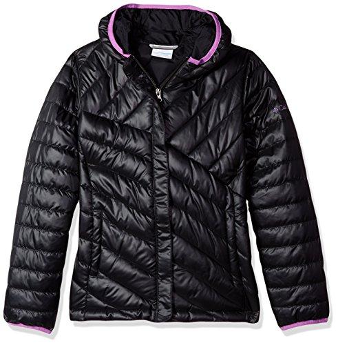 Girls Puffer Jacket - Columbia Big Girls' Powder Lite Puffer Jacket, Black/Crown Jewel, Small