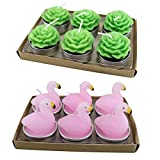 Flamingo Candles Classic Wax Oriental Lotus and Lotus Otto Flamingo Candle for Romantic Wedding Christmas Birthday Party Gift (Green)