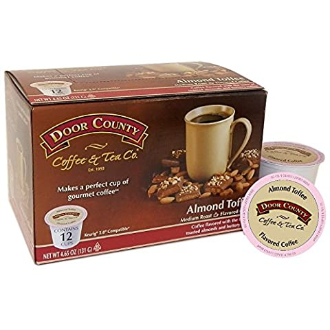 Door County Coffee Single Serve Cups for Keurig Brewers (Almond Toffee, 36 Count) - Buttery Almond