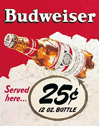 (Puernash Budweiser - 25 Cents 12 X 16In. Tin Sign Wall Sign Plaque Poster for Home Bathroom and Cafe Bar Pub, Wall)