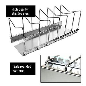 My Houseware Rack | Premium Pantry Pot Lid Kitchen Organizer Shelf Bakeware Storage | Anti Rust Stainless Steel Circular Plate Dryer Tray Sink Holder | Silver