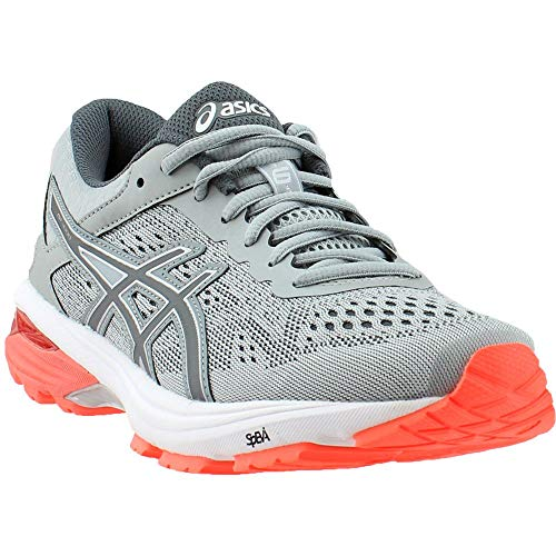 ASICS Womens GT-1000 6 Running Shoe, Mid Grey/Carbon/Flash Coral, 5.5 Medium US