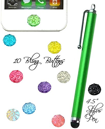 10 Home button stickers in Rhinestone Bright colors Plus Hot pink stylus pen for Apple ipad air ipad mini iphone 3g 4 5 6 (Green) (Iphone 3g Decal)