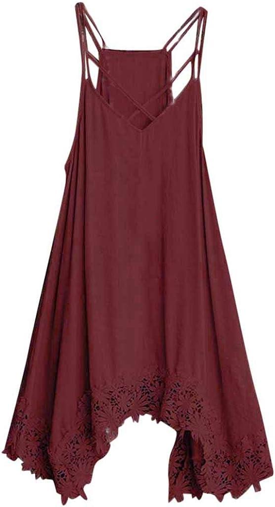 Womens Sleeveless Bohemian Elegant Dress Bandage Summer Lace Evening Party Beach Holiday Mini Dress