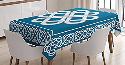 Irish Tablecloth by Ambesonne, Celtic Love Knot Symbol of Good Fortune Framework Borders Historical Pagan Amulet, Dining Room Kitchen Rectangular Table Cover, 60 W X 84 L Inches, Blue and - Celtic Love Symbol