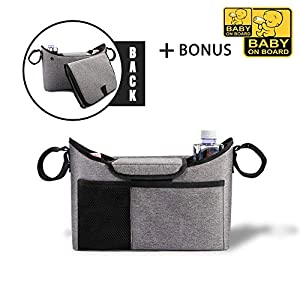 """Baby Stroller Organizer with Cup Holders, Universal Fit for All, Easy Installation, Universal Stroller Organizer for Smart Moms, Bonus Changing Pad and Two Stickers """"Baby on Board"""" (Gray)"""