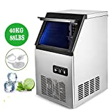 Happibuy Commercial Ice Maker 160W Stainless Steel Ice Cube Maker Machine 88LBs Ice Making Machine for Home Snack Bars (88lbs/24h)