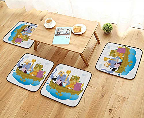 Printsonne Fillet Chair Cushion Old Christian Story Noahs Ark with of Animals in The Boat Journey ith Cart Suitable for The Chair W13.5 x L13.5/4PCS Set