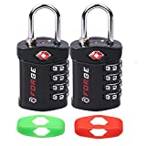 4 Digit TSA Approved Luggage Lock, 2 Pack, Change Your Own Color and Combination, Inspection Indicator, Alloy Body
