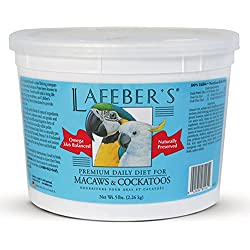 LAFEBER'S Premium Daily Diet Pellets Pet Bird Food, Made with Non-GMO and Human-Grade Ingredients, for Macaws and Cockatoos, 5 lbs