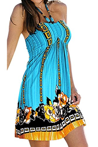 (Zyyfly Women's Strapless Loose Bust Pleated Swing Bohemian Beach Dresses)