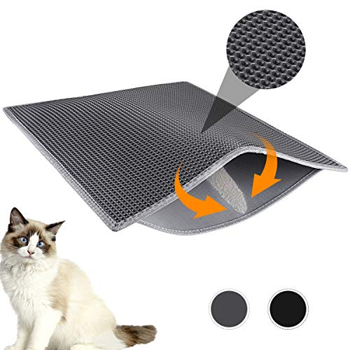 """Waretary Professional Cat Litter Mat, XL Jumbo 30"""" x 24"""", Honeycomb Double Layer Waterproof Urine Proof Trapping Mat for Litter Boxes, Large Size Easy Clean Scatter Control (Grey)"""