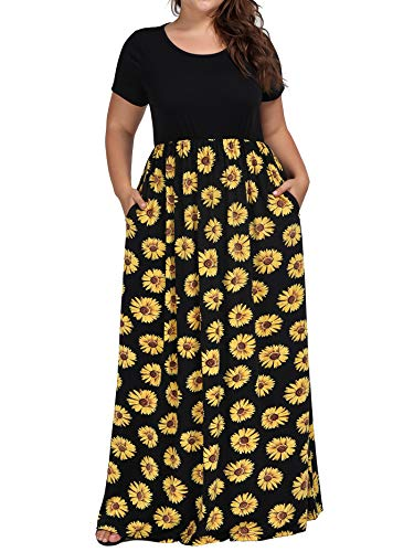 kissmay Plus Size Maxi Dresses Short Sleeve, Hight Waist Maternity Smocked Long Dress O Collar Simple Plain Summer Floor Length Dress Miss Oversized Pleated Cozy Sun Dresses Black Yellow XX-Large