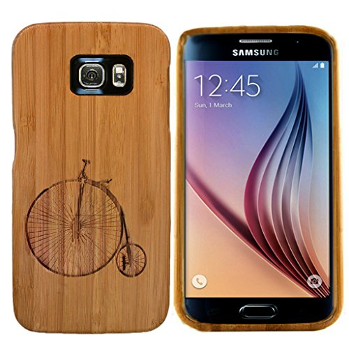Boho Tronics Bohobamboocases Natural Handmade Bamboo Penny Farthing Case for Samsung Galaxy S6