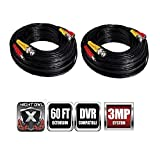 Night Owl Security Extreme HD 3MP 60 Feet BNC Video/Power Camera Extension Cable (Black, 2 Pack)