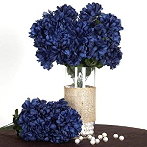 Efavormart 56 Large Chrysanthemum Mums Ballsfor DIY Wedding Bouquets Centerpieces Party Home Decorations – 4 Bushes – Navy Blue