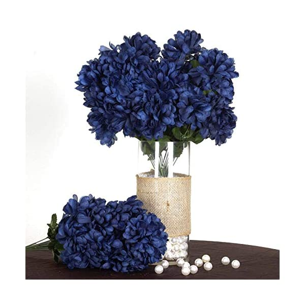 Efavormart 56 Large Chrysanthemum Mums Ballsfor DIY Wedding Bouquets Centerpieces Party Home Decorations – 4 Bushes – Navy Blue