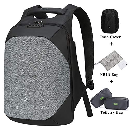 Korin ClickPack Pro - Anti Theft Travel Backpack Laptop Backpack 15.6 inch with USB Charging Port Large Capacity Waterproof TSA Business Travel Backpack Bag Friendly Smart Black and Grey