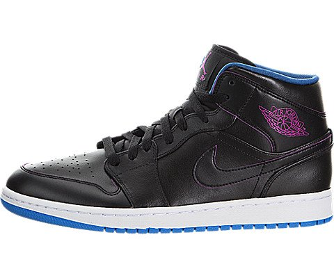 Nike Men's Air Jordan 1 Mid Black/Fire Pink/Photo Blue Basketball Shoe - 12 D(M) US