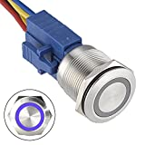 API-ELE [3 year warranty] 22mm Latching Push button Switch 12V Angel Eye Ring Light LED Waterproof Stainless Steel Round Metal Self-locking 7/8'' 1NO 1NC (Blue)