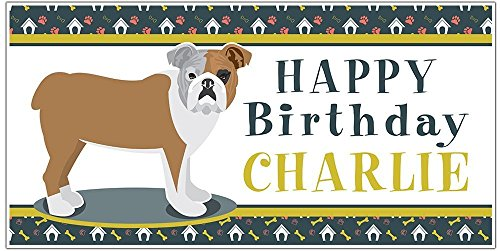 Bulldog Puppy Party Birthday Banner Personalized Backdrop Decoration