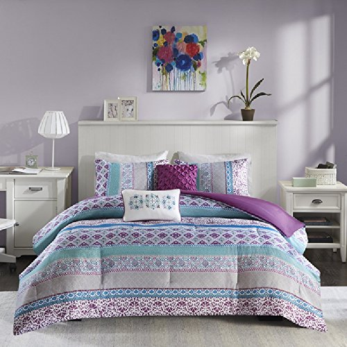 4 Piece Multi Girl Bohemian Stripe Themed Comforter Twin Set, Horizontal Embroidered Medallion, Floral, Geometric Striped Print, Solid Reversible Bedding, Abstract Purple Turquoise Grey (Embroidered Print Rugby)