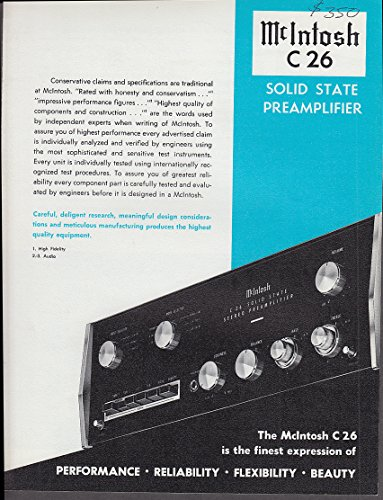 McIntosh C 26 Solid State Preamplifier sales folder 1970s