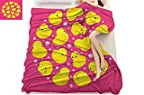 Rubber Duck, Super Soft Lightweight Blanket, Fun Baby Duckies Circle Artsy Pattern Kids Bath Toys Bubbles Animal Print, Microfiber for Bedding or Sofa, (W70 x L90 Inch Pink and Yellow