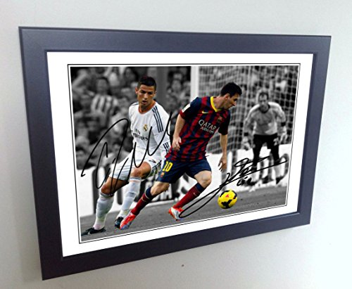 Signed 12x8 Black Soccer Lional Messi Barcelona Cristiano Ronaldo Real Madrid Autographed Photo Photograph Football Picture Frame Gift A4 Beautiful Autographed Photo