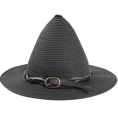 SAYM Women Fashion Candy Color Children Straw Pointed Witches' Hat Beach Sun Cap Black ()