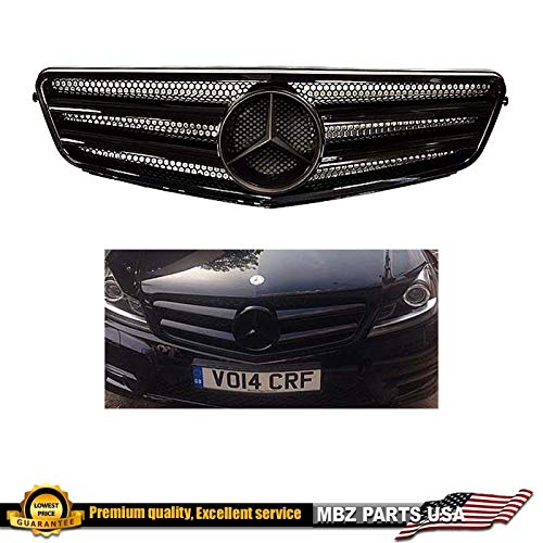 Mercedes-Benz W204 C-Class all black grille 2008 209 2010 2011 2012 2013 2014 C200 C250 C300 C350 4/2 door with black star emblem glossy #247 (Mercedes Sedan C-class)