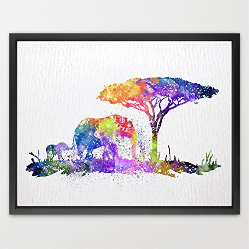 Dignovel Studios 11X14 Elephant Family Watercolor Print Baby Elephant and Mom Elephant Art Poster Giclee Wall Decor Kids Art Nursery Decor Wall Hanging N241