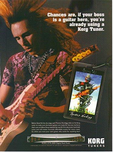 (Magazine Print Ad: 2003 Guitarist Steve Vai and Tech Thomas Nordegg for Korg DTR-2000 Digital Rack Tuner,