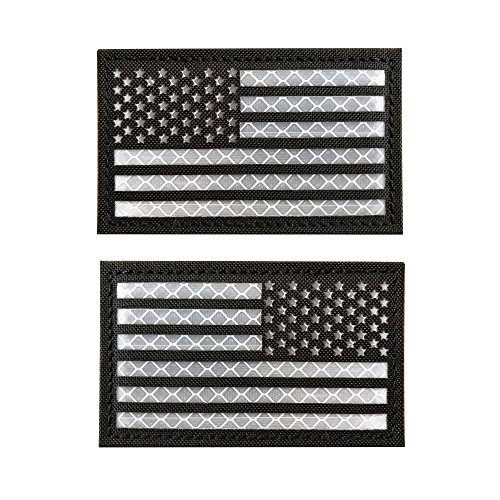- Baotu 2x3.5 Reflective Black US USA American Flag Morale Tactical Patches SWAT Forward and Reversed (1 Left + 1 Right)