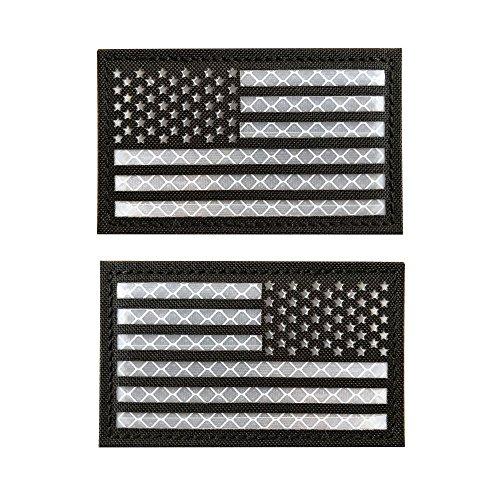 Baotu 2x3.5 Reflective Black US USA American Flag Morale Tac