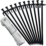 Eurmax Heavy Duty Steel Tent Stakes Tarp Pegs Solid Stakes Footprint Camping Stakes for Outdoor Trip Hiking Gardening, 10 Pack