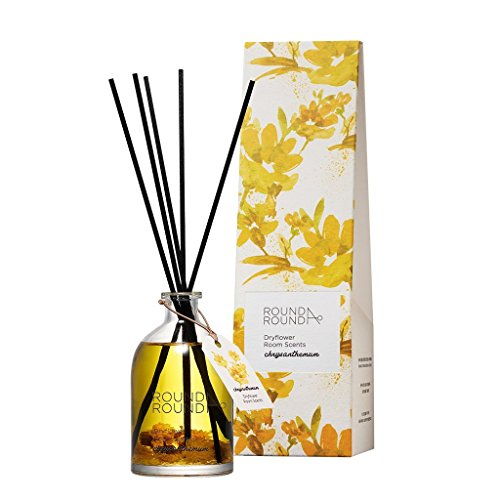 ([ROUND A'ROUND] Dryflower Room Scents 145ml / Pure and Fresh Floral Scent Perfumed Reed Diffuser for Home and Room, Fragrant Homes, Rooms, Office, Bathroom, Living room (Chrysanthemum))