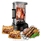 NutriChef Countertop Vertical Rotating Oven - Rotisserie Shawarma Machine, Kebob Machine, Stain Resistant & Energy Efficient W/Heat Resistant Door, Includes Kebob Rack with 7 Skewers (PKRTVG34)