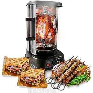 NutriChef Countertop Vertical Rotating Oven – Rotisserie Shawarma Machine, Kebob Machine, Stain Resistant & Energy Efficient W/ Heat Resistant Door,  Includes Kebob Rack with 7 Skewers (PKRTVG34)