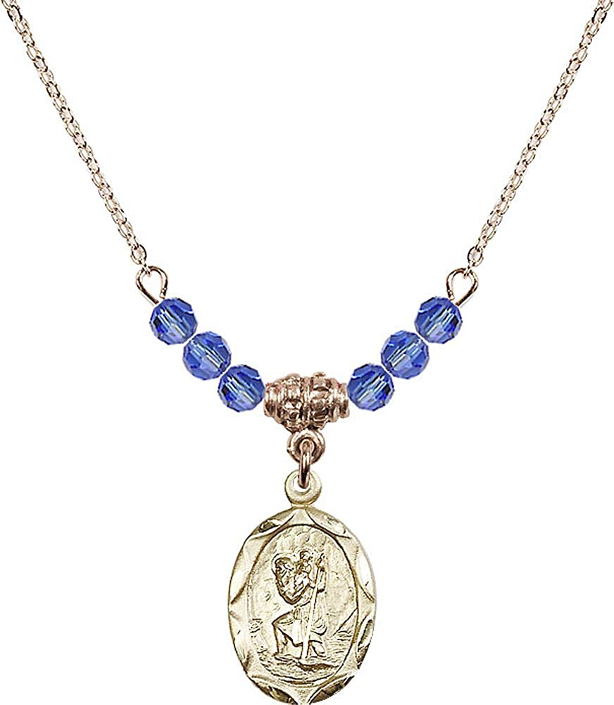 Blue Sapphire September Birthstone Patron Saint of Travelers//Motorists 18-Inch Hamilton Gold Plated Necklace with 4mm Sapphire Birthstone Beads and Saint Christopher Charm