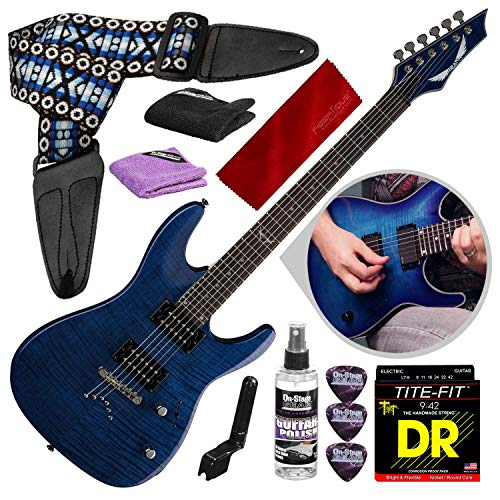 Dean Custom 350 Electric Guitar, Trans Blue with Guitar Care Kit & Accessory Package
