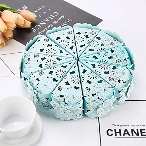 DEVILFACE Laser Cut Flower Wedding Sweets Triangle Favor Candy Gifts Boxes Bridal Shower Wedding Party Favors (Blue, 30)