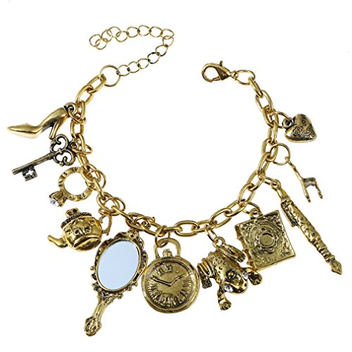 Women Retro Frog Charm Chain Multielement Mirror Teapot Alloy Bangle Bracelet Jewelry...