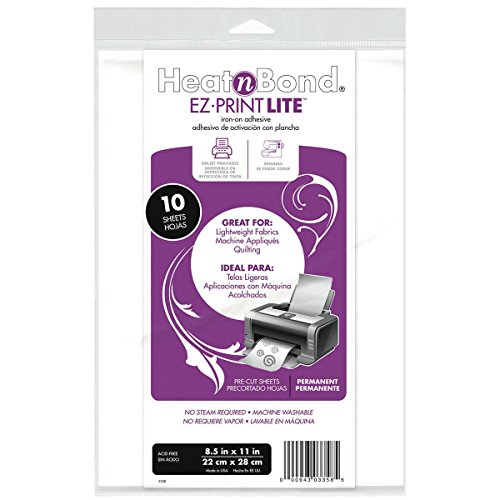(Thermo Web 3358 Heat and Bond EZ-Print Lite Iron-On Adhesive, 8-1/2 by 11-Inch, White, 10-Pack)