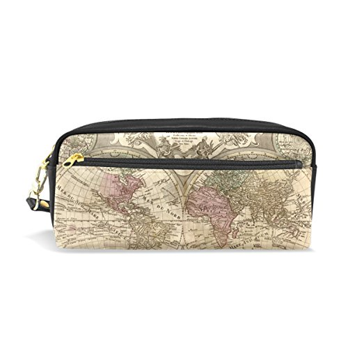 Vintage Old World Map Pencil Case Portable Pen Organizer Bag PU Leather Large (Old Navy Dragon Costume 4t)