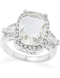 14K White Gold Plated 6.50ct Created Cushion Cut White Topaz & Round Cut White Sapphire Women's Ring