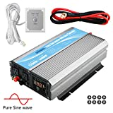 GIANDEL 2200Watt Pure Sine Wave Power Inverter 12V DC to 120V AC 20A Solar Charge Control Remote Control&LED Display Dual AC Outlets &1x2.4A USB Port RV Truck Car Solar System