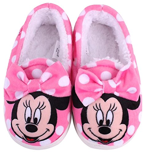 Joah Store Disney Mickey Minnie Mouse Girl's Warm Fur Indoor Slipper Pink Shoes (Parallel Import/Generic Product) (8 M US - International Usps Long How