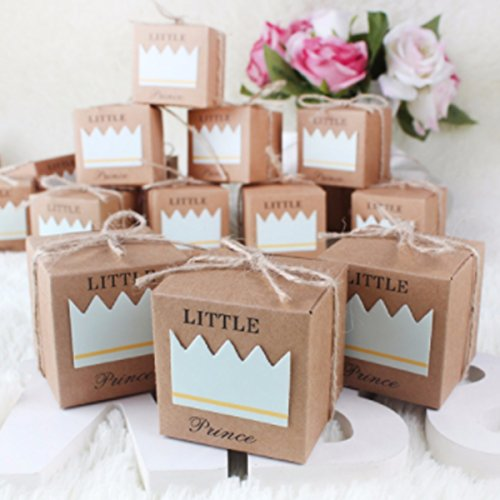 Paperboard Gift Candy Boxes for Valentine's Day Present Baby Shower Decorations Wedding Favors Gifts,Easy to Assemble (Little prince) ()