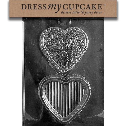 Dress My Cupcake DMCW032 Chocolate Candy Mold, Swan Heart Pour Box, Wedding